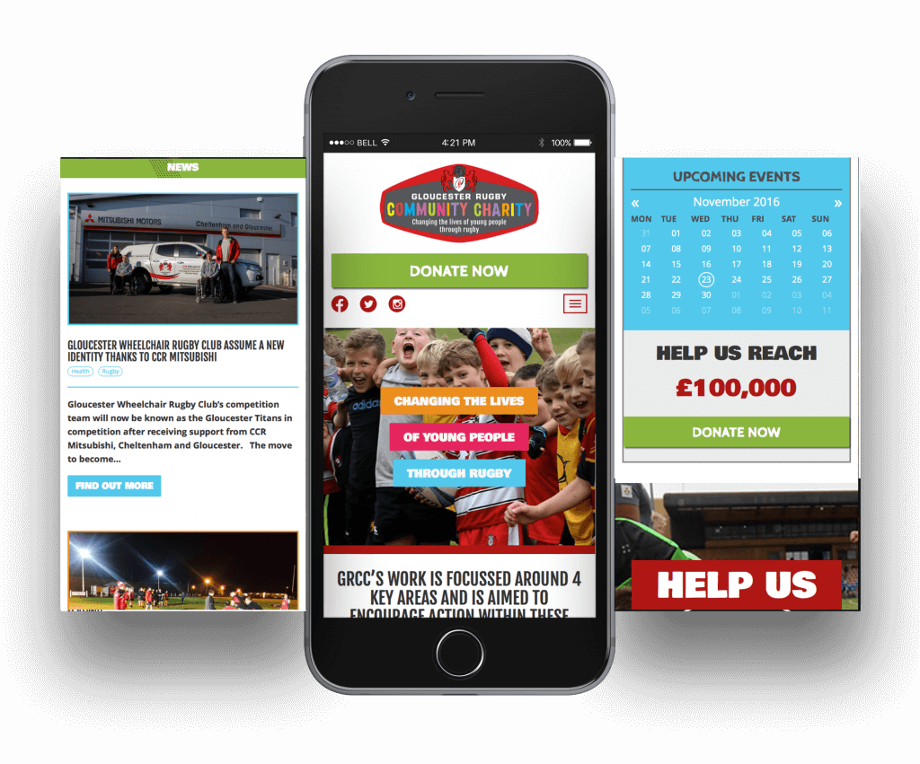 Gloucester Rugby Community Charity Mobile Screen