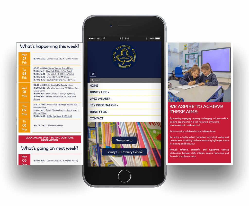 Trinity CE Primary School Mobile Screen